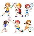 Tennis actions vector