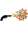 Black revolver with colored bubbles vector