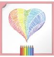 Rainbow heart with colour pencils vector
