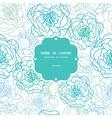 Blue line art flowers frame seamless pattern vector