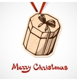 Present box paper label christmas and new year vector