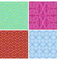 4 seamless patterns with geometric elements vector