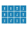Award icons on blue background vector