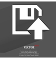 Floppy disk upload flat modern web button with vector