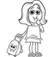 Grade school girl coloring page vector