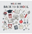 Back to school set on the notebook sheet vector