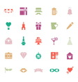 Happy anniversary flat color icons on white vector