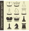Black and white chessmen set with king queen pawn vector