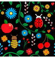 Seamless autumn floral pattern vector