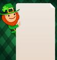 Leprechaun looking at blank poster green vector