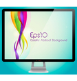 Colorful abstract background with monitor vector