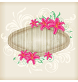 Wooden label with red lilies vector