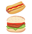 Hot dog and hamburger vector