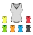 Womens v-neck shirt design template color set vector