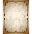 Crumpled brown frame with ornament vector