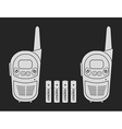 Travel radio set devices wit batteries chalk vector