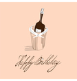 Template for birthday card with inscription happy vector