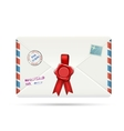 Old-fashioned airmail envelope with seal vector