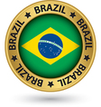 Brazil gold label with flag vector