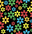 Seamless pattern with colored dotted flowers vector