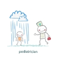 Pediatrician talking to a sick child in the rain vector