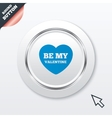 Be my valentine sign icon heart love symbol vector