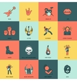 Rock music icons flat line vector