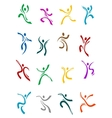 Dancing and jumping peoples icons vector