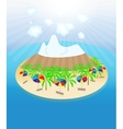Island palm trees sun umbrellas seamless pattern vector
