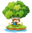 An island with a sweet couple vector
