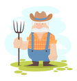 A funny farmer cartoon character vector