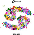 Pattern with butterflies cute zodiac sign - cancer vector