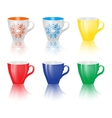 Set of colored cups isolated on white background vector