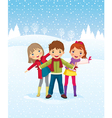 Winter day children playing outdoors vector