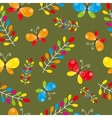 Floral seamless pattern with bird and butterflies vector