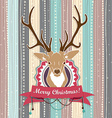 Vintage christmas card with deer cold pastel vector