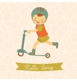Hello spring card with cute little boy vector
