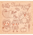 Set of vintage elements for thanksgiving vector
