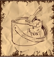 Paint bucket and brush on vintage background vector