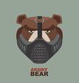 Angry bear in mask a ferocious wild animal vector