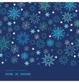 Night snowflakes horizontal border frame seamless vector