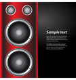 Music party invite with speakers on red and white vector