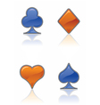 Blue and orange card suit icons vector