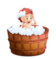 A smiling young boy inside the wooden bathtub vector