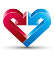 Heart made with 2 arrows vector