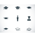 Black academic cap icons set vector