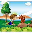 A young boy and his pet near the lake vector