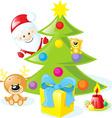 Christmas design with santa claus xmas tree candle vector