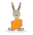 Funny easter rabbit with egg cartoon vector