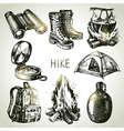 Hike and camping tourism hand drawn set vector